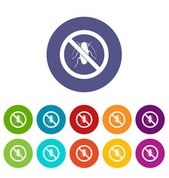 No cockroach sign set icons vector