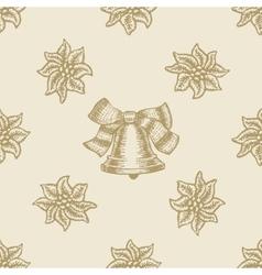 poinsettia christmas bell flower pattern seamless vector image