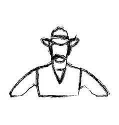 Portrait man in cowboy hat sketch vector