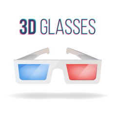 realistic 3d glasses red blue paper vector image vector image