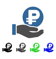 Rouble coin payment hand flat icon vector