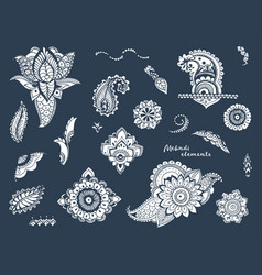 Set of hand drawn different mehndi elements vector