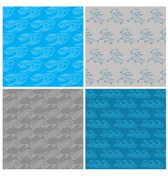 Set of Seamless Waves Background vector image