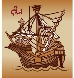 Spanish sail ship vector