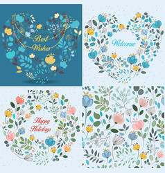 spring cards with floral patterns set vector image