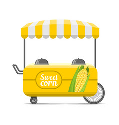 sweet corn street food cart colorful image vector image vector image