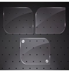 Tree gloss buttons on dark background vector