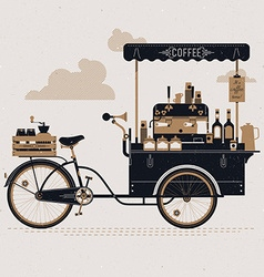 Vintage coffee cart vector