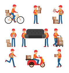workers of delivery different characters set vector image