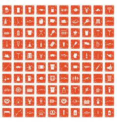 100 beer icons set grunge orange vector