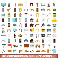 100 construction business icons set flat style vector