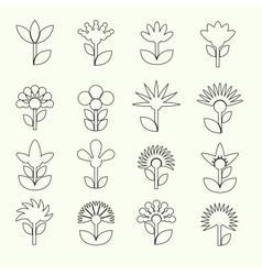 Simple retro small flowers set of outline icons vector