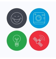 Smiling face photo camera and lightbulb icons vector