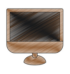 Color crayon stripe silhouette of lcd monitor vector