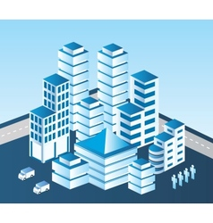 Blue building vector