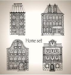 Set of retro house vector