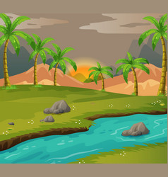 Scene with coconut trees along the river vector