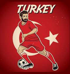 Turkey soccer player with flag background vector