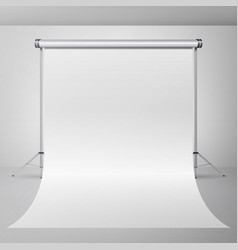 Photo studio empty white canvas background vector