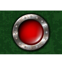 Red round lamp with metal frame and rivets vector