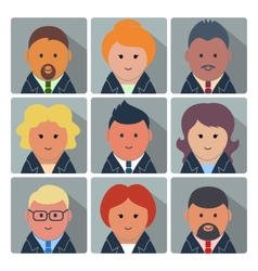 Set of avatar icons with business people vector