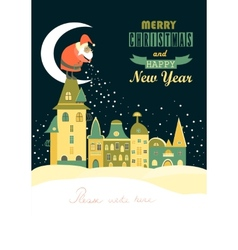 Santa claus spreads snowflakes over the night vector
