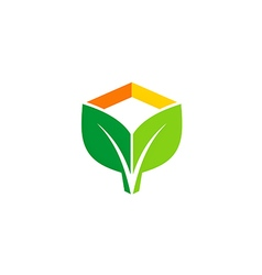Green leaf eco botany logo vector