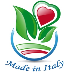 Italian heart among the leaves vector