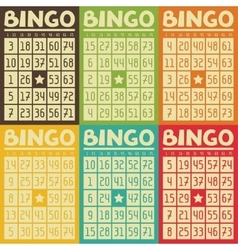 Set of retro bingo or lottery cards for game vector