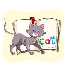 Gray cat and a book vector