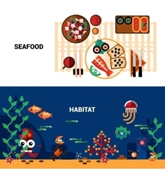 Horizontal seafood banners set vector