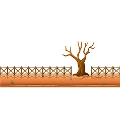 Dry tree with fences along the road vector