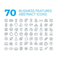 70 Thin Line Universal Business Icons vector image
