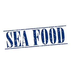 Sea food blue grunge vintage stamp isolated on vector