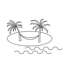 Hammock on beach icon outline style vector