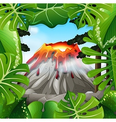 Scene with volcano with lava vector