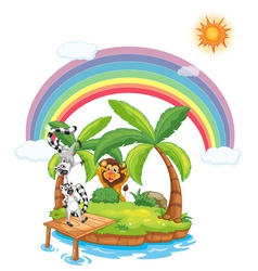 Paradise island with animals vector