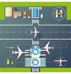 Airport runways top view flat image vector
