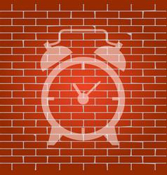 alarm clock sign whitish icon on brick vector image