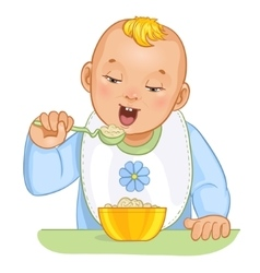 Baby boy with spoon and plate vector image vector image