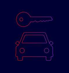 Car key simplistic sign line icon with vector