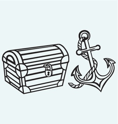 Chest and anchor vector image vector image