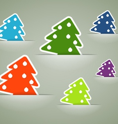 Christmas colorful tree stickers in pockets vector image