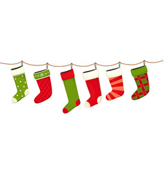 christmas stockings hanging new year decorations vector image