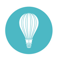 Circle light blue with hot air balloon vector