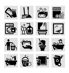 cleaning black icons vector image