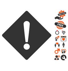 error rhombus icon with love bonus vector image vector image