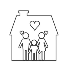family and house pictogram icon vector image