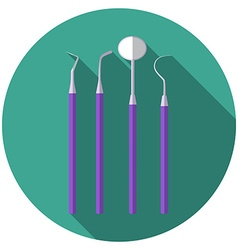 Flat design modern of dental tools icon with long vector