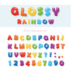 glossy rainbow colored font design festive abc vector image vector image